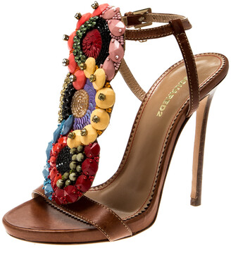 DSQUARED2 Brown Leather Embellished Ankle Strap Sandals Size 35