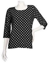 As Is Susan Graver Liquid Knit U-neck Top w/ Dot Print & 3/4 Sleeve