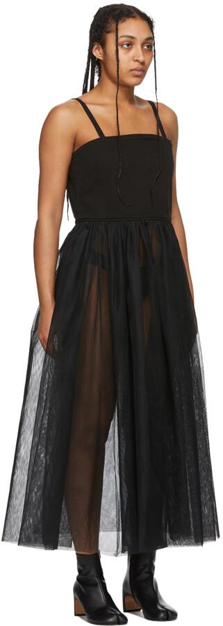 Thumbnail for your product : MM6 MAISON MARGIELA Black Denim Tulle Tank Dress