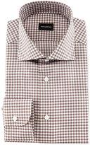 Ermenegildo Zegna Gingham Woven Dress Shirt, Brown
