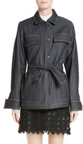 Carven Women's Tie Waist Denim Jacket