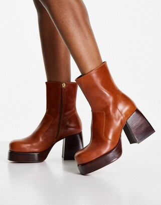 ASOS DESIGN Rowan premium leather platform heeled boots in tan