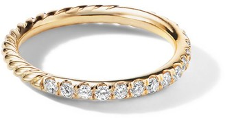 David Yurman 18K Yellow Gold Diamond Cable Band Ring