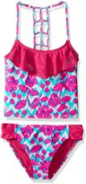 YMI Jeanswear Big Girls' Fiesta Two Piece Lazer Cut Flounce Tankini Swimsuit