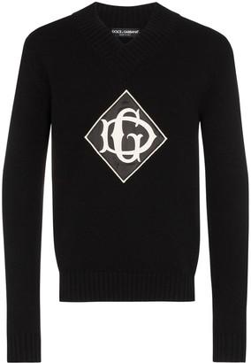 Dolce & Gabbana V-neck front logo jumper
