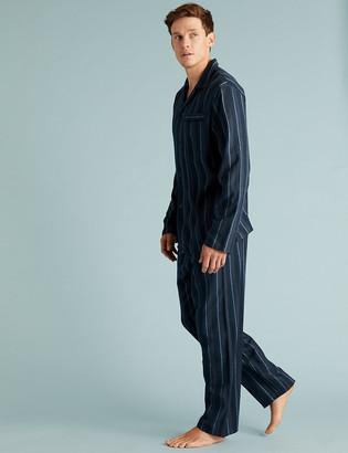 Marks and Spencer Brushed Cotton Striped Pyjama Set
