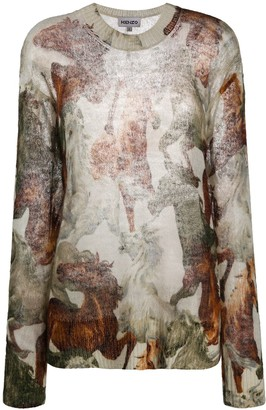 Kenzo Floral-Print Knitted Jumper