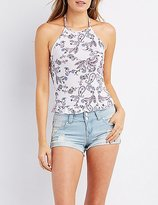 Charlotte Russe Paisley Ruffle-Trim Halter Top