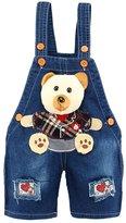 Kidscool Baby Summer Cotton Denim 3D Cartoon Bear Heart Soft to Wear Overalls