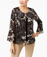 JM Collection Printed Bell-Sleeve Blouse, Created for Macy's