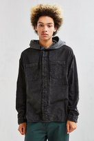 Urban Outfitters UO Acid Wash Hooded Flannel Button-Down Shirt