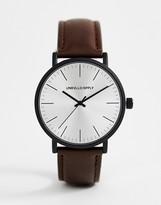 Asos Design DESIGN watch in brown with matte black case