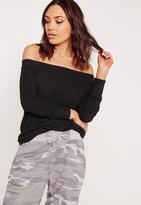 Missguided Bardot Sweatshirt Black