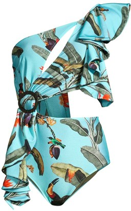 PatBO Tropical Print Cut-Out One-Shoulder One-Piece