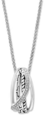 "Effy Diamond Swirl 18"" Pendant Necklace (1/10 ct. t.w.) in Sterling Silver"