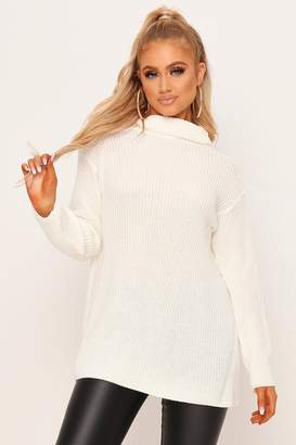 I SAW IT FIRST Cream Split Back Knitted Roll Neck Jumper