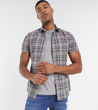 ASOS DESIGN Tall slim fit check shirt in mushroom