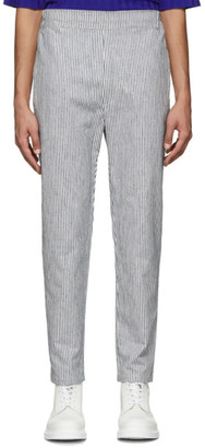 House of the Very Islands White and Navy Striped Hi Trousers