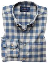 Extra Slim Fit Button-down Non-iron Twill Blue And Grey Check Cotton Shirt Single Cuff Size Small