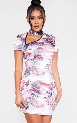 PrettyLittleThing Lilac Oriental Print High Neck Short Sleeve Bodycon Dress