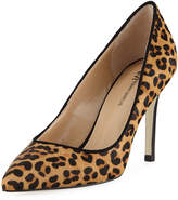 Neiman Marcus Jane Calf Hair Pointed Pump, Leopard