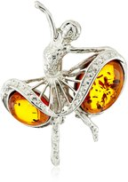 Amazon Collection Sterling Silver and Honey Amber Antique Reproduction Style Ballerina Pin