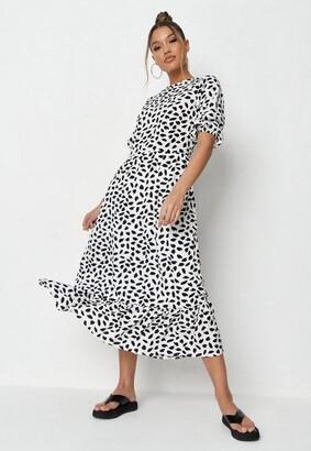 Missguided Tall White Dalmatian Print Ruffle Hem Smock Dress