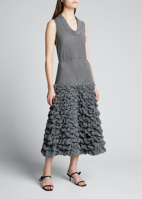 Giorgio Armani Houndstooth Printed Drop-Waist Jersey Dress