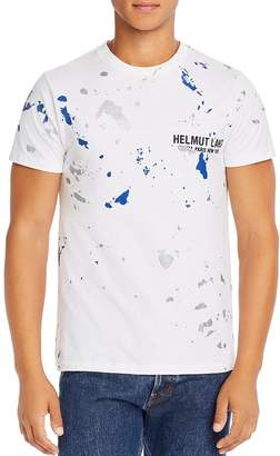 Helmut Lang Paint-Splattered Embroidered Logo Tee
