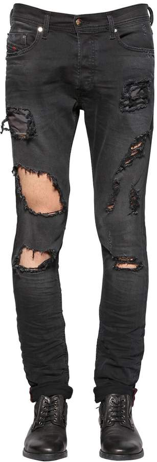 Diesel 17cm Tepphar Destroyed Denim Jeans