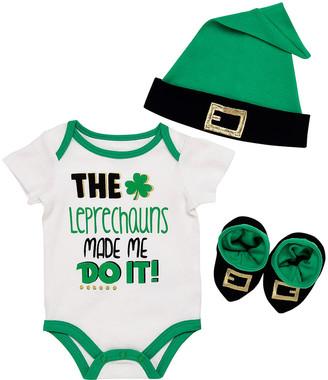 Baby Starters Infant Bodysuits White - Green 'The Leprechauns Made Me Do It' Bodysuit Set - Infant