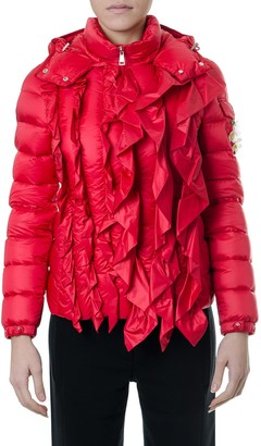 MONCLER GENIUS Red Down Jacket With Frontal Ruffles