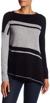 Cullen Cashmere Asymmetric Striped Tunic Sweater