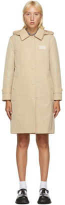 Burberry Beige Detachable Hood Trench Coat