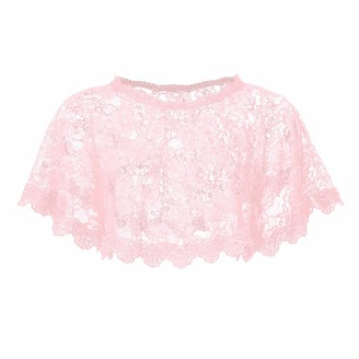CHICTRY Women's Shawls Floral Lace Tulle Scarfs Wrap Bolero Wedding Bridal Cape Pink One Size