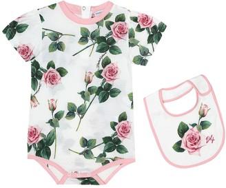 Dolce & Gabbana Baby floral bodysuit and bib set
