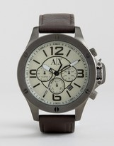 Armani Exchange Ax1519 Chronograph Leather Watch In Brown