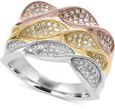 Effy Trio by Diamond Pavé Twist Ring (5/8 ct. t.w.) in 14k White, Yellow and Rose Gold
