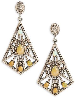 Bavna Black Rhodium-Plated Sterling Silver, Opal Diamond Drop Earrings