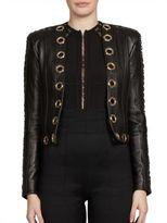 Balmain Grommet-Trim Leather Jacket