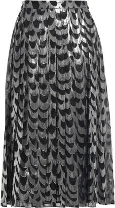 MICHAEL Michael Kors Pleated Fil Coupe Crepe Midi Skirt