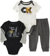 Calvin Klein 3-Pc. Bodysuits & Pants Set, Baby Boys (0-24 months)