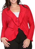 24/7 Comfort Apparel Tie Front Cardigan Plus