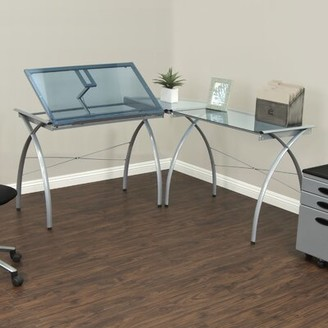 Studio Designs Futura Glass L-Shape Drafting Table Color: Silver and Blue Glass