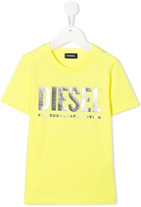 Diesel metallic logo print round neck T-shirt