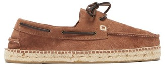 Manebi Hamptons Suede And Braided-jute Boat Shoes - Mens - Brown