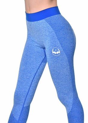 Arnold Gym Seamless High Waisted Blue Fitness Sports Tight Leggings (X-Small)
