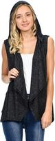 Magic Fit Charcoal Black Drape-Front Hooded Vest