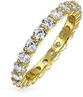 Bling Jewelry Gold Plated 925 Silver Classic Pave CZ Wedding Band