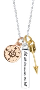 "Unwritten Wander Multi-Charm 18"" Pendant Necklace in Sterling Silver and Gold & Rose Gold Flash-Plate"